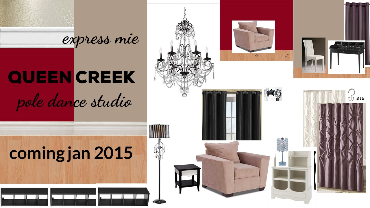 design board for the expressmie queen creek pole dancing studio